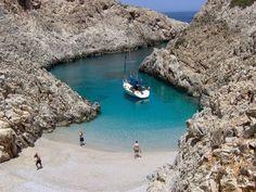 Hidden beach in Chania, Crete. Private paradise in Greece. Heraklion, Crete Chania, Chios, Ithaca Greece, Crete Greece, Places Around The World, Oh The Places You'll Go, Around The Worlds, Crete Island