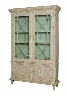 Guildmaster - Edwardian Display Cabinet.  Love the turquoise background.
