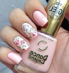 45 Spring Nail Art Designs - Nail Art Ideas for Spring 2019 Manicures - Page 17 of 45 - Fashion Star Cute Nail Colors, Spring Nail Colors, Spring Nail Art, Spring Nails, Summer Nails, Rose Nail Art, Floral Nail Art, Rose Nails, Flower Nails