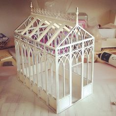 Emily Boutard - I quit my job as a corporate lawyer two years ago to make tiny furniture and study architecture full time. Miniature Houses, Miniature Dolls, Cultural Patterns, Greenhouse Plans, Miniature Greenhouse, Tiny Furniture, I Quit My Job, All The Small Things, Idee Diy