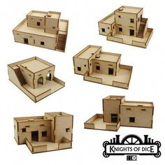 Knights Of Dice : Desert Buildings - Sentry City (Pulp) Bases & Trays Miniatures & Games Tokens & Gaming Aids Tabula Rasa (Basic Shells) Letters Home Foam Trays & Bags Neo Sentry (Sci-Fi) Event Tickets miniature, wargaming, scenery Cardboard Box Houses, Cardboard Model, Paper Houses, Christmas Crib Ideas, Christmas Nativity, Desert Resort, Wargaming Terrain, Modelos 3d, Military Diorama
