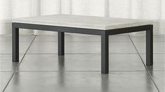 Parsons Rectangular Coffee Table with Travertine Top | Crate and Barrel