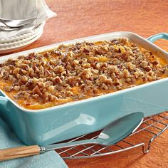 Baked Apple Sweet Potatoes with Pecan Streusel Topping: Once you've tried it, you'll want to add this comforting dish to your holiday table every year.