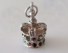 Silver Crystal Crown Gem Set Charm or Pendant by TrueVintageCharms on Etsy
