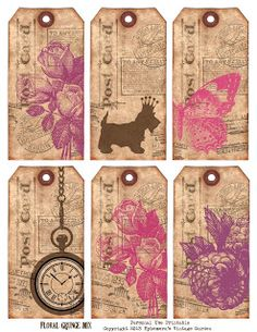 Ephemera's Vintage Garden: Free Weekly Printable - Floral Grungy Mixed Tags