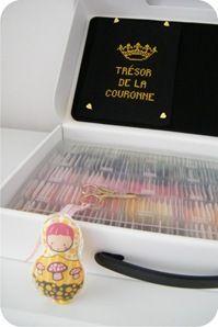 Caixa de Notebook forrada para guardar linhas de bordado. Tut completo em http://www.bananacraft.com/blog/reciclagem/2012/05/22/maleta-para-linhas-de-bordado/