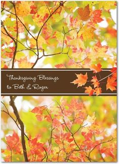 Falling Blessings - Happy Thanksgiving Greeting Cards from Treat.com