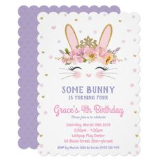 Cute Bunny Rabbit 1st Birthday Girl Thank You Card ...