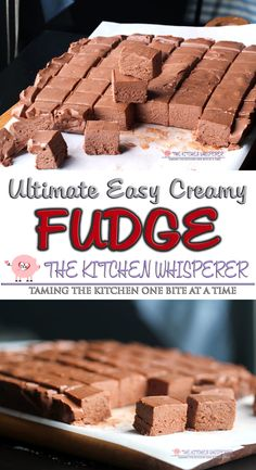 The Ultimate Easy Creamy Chocolate Fudge This is truly the Ultimate Easy Creamy No Fail Chocolate Fudge. I took Mom's classic fudge recipe and modernized it – no more standing at the stove putting in a workout just to stir it. Just a few minutes is all it Easy Chocolate Fudge, Homemade Chocolate, Chocolate Recipes, Homemade Fudge Easy, Chocolate Tarts, Classic Fudge Recipe, Best Fudge Recipe, Cream Cheese Fudge Recipe, Marshmallow Fluff Recipes