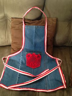 Upcycled denim childs apron. By Ucycled Diva