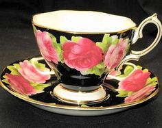 Royal Albert Pink Roses  Black