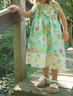 Super cute dress.. all straight sewing and ruffled with elastic