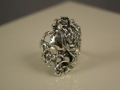 Silver Deco Princess Ring Sterling by freedomjewelryusa on Etsy, $54.00