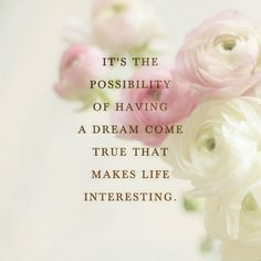 It's the possibility of having a dream come true that makes life interesting.― Paulo Coelho, Alchemist