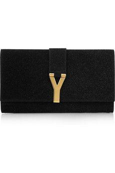 """Yves Saint Laurent  Chic quartz-embellished clutch...It's A """"Y""""!!!"""