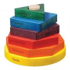 The colored Shape Stacker introduces 5 educational concepts: Colors – each shape is one of six rainbow colors. Teaching Shapes, Shape Names, Stacking Toys, Wooden Shapes, Montessori Materials, Kids Wood, Learning Toys, Toddler Learning, Learning Activities