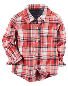 Kid Boy Twill Plaid Button-Front Shirt from Carters.com. Shop clothing & accessories from a trusted name in kids, toddlers, and baby clothes.