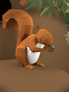 low poly squirrel - Buscar con Google