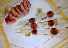 Brochetas de Sepia y Calamar Diet Recipes, Healthy Recipes, Recipe Link, Sin Gluten, Shrimp, Sausage, Meat, Desserts, Food
