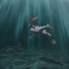 Beasts of Arcadia – The new surreal and beautiful paintings of Joel Rea (image) Surreal Artwork, Underwater Art, Realistic Paintings, Oil Paintings, Drawing Skills, Drawing Ideas, Australian Artists, Beautiful Paintings, Figurative Art