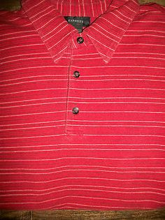 Express Men's Size L 96% Cotton Short Sleeve Polo Shirt Red Orange Striped