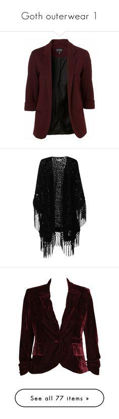 """Goth outerwear 1"" by alonemydear ❤ liked on Polyvore featuring goth, marilynmanson, killstar, gothgoth, outerwear, jackets, blazers, tops, blazer jacket and ponte jacket"