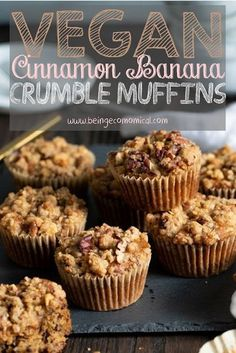 Vegan Cinnamon Banana Crumble Muffins - - Exciting ways to save time & money! Banana Crumble Muffins, Cinnamon Muffins, Cinnamon Crumble, Banana Cinnamon, Apple Muffins, Muffins Sains, Cake Vegan, Simple Muffin Recipe, Healthy Snack Foods