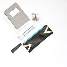 Black Leather Pencil Case, Triangle Pen Pouch, Small Cosmetic Bag, Teal Zipper Purse, Graduation Gift