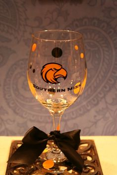 Items similar to Southern Miss Wine Glass on Etsy Cup Crafts, Home Crafts, Wine Glass, Glass Art, Southern Girls, Beer Mugs, Vinyl Lettering, Alma Mater, Table Decorations