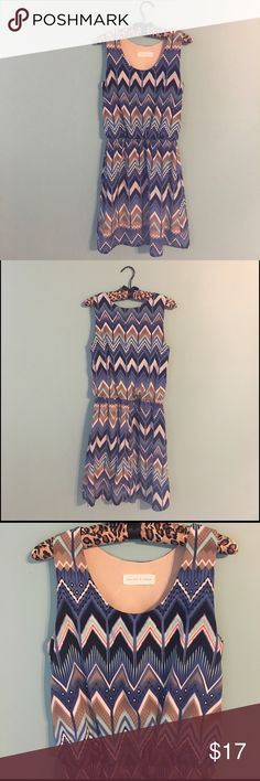 Peaches And Cream Chevron Dress In like new condition super cute dress.  Fits a size small-medium. Peaches And Cream Dresses