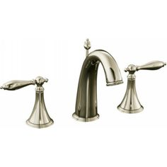 Kohler K-310-4M-SN Finial Traditional Vibrant Polished Nickel Two Handle Widespread Bathroom Faucets  eFaucets.com