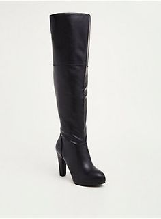 Wide Width Faux Leather Tall Boots in Black/White - Wide Width & Wide Calf Lace Up Wedge Boots, Tall Leather Boots, Tall Boots, High Heel Boots, Heeled Boots, Bootie Boots, High Heels, Women's Boots, Combat Boots