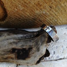 Old Rugged Cross Ring Wood Like Texture on Men's by sprout1world
