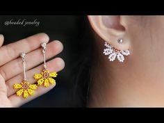 Jacket Earrings, Bead Earrings, Beaded Necklace, Beaded Bracelets, Bead Embroidery Jewelry, Beaded Jewelry Patterns, Seed Bead Jewelry, Bead Jewellery, Earrings Handmade