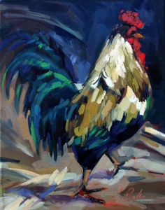 "Farm animal painting, Ladies' Man, Rooster, 14"" x 11"", oil painting on canvas. $410.00, via Etsy."