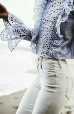 Light blue eyelet top & white denim for spring style