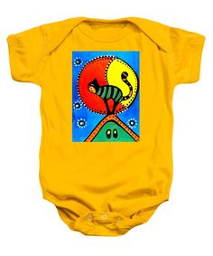 Cats For Kids Apparel and Gifts Cat baby bodysuit The Cat And The Moon - Cat Art for kids by #dorahathazi, moon, cat, kids room, for kids, house, stars, starry sky, night, moonlight, pet, pets, feline, felines, kitty, kitties, kitten, stripe, striped, green, green cat, blue sky, bright, vibrant, colour, colourful, children room, art for children, nursery, preschool, cat art, homedecor, cute cat, colorful cat, cat lovers, cute, whimsical, mystical, playful, unique, Dora Hathazi Mendes