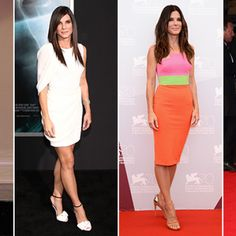 """2013 wrap-up: A year of style with Sandra Bullock...   The 5-foot-7 brunette beauty does a combination ofstrength-training and cardio exercise to maintain her stunning, age-defying good looks.  """"I do a lot of Pilates, kick-boxing and weight training in L.A., and when I'm in Austin [Texas], I run or ride a bike,"""" Bullock, 49, told Vogue.  In recent years, Bullock has incorporated plyometrics and an hour-long routine that combines yoga and Pilates with dance cardio into her workout routine."""