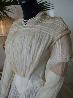 Romantic Period Wedding or Summer Gown, ca. 1844