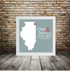 ILLINOIS Wedding Gift Custom State Map by DefineDesign11 on Etsy