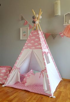 Teepee  pink clouds tipi childrenu0027s teepee playtent zelt wigwam tent kids teepee high quality teepee & FREE WORLDWIDE SHIPPING Personalised Pink Star Teepee - Tipi ...