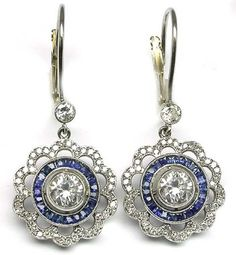 platinum diamond and sapphire earrings-mine probably won't be this fancy, but I want some sapphire earrings for my birthday.