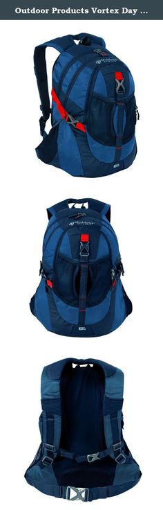 Outdoor Products Vortex Day Pack, Navy Blue. This spacious daypack is perfect for school, work, the gym or hitting the trails. With plenty of room for all your essentials, plus added details like an organizer pocket and hydration capability—this pack will keep you going from dawn til dusk. The Outdoor Products Vortex daypack is made from durable polyester/ripstop fabric and features a sporty design with two roomy main compartments, multiple pockets for organization, adjustable shoulder...