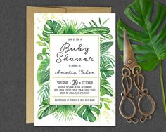 This gorgeous tropical greenery baby shower invitation is the perfect accent to any tropical or summer baby shower! With bright bursts of green tropical leaves paired with sleek fonts, this invitation is sure to leave a lasting impression. Also available in this collection >> Bring a Book Not a Card 2 x 3.5 Insert: https://www.etsy.com/ca/listing/497638180/bring-a-book-insert-card-coordinates   ------------------   + Important Note + Shipping within Canada ...