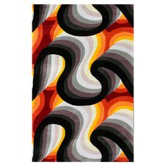 Enhance any decor setting with this magnificent modern abstract design rug in complimenting shades of black, orange, red, white and grey from the NuLOOM. This handmade polyester rug prevents shedding while offering a comfortable, plush hand. Rug Studio, Polyester Rugs, Burke Decor, Rugs Usa, Hand Tufted Rugs, Black Rug, Contemporary Rugs, Contemporary Furniture, Tile Patterns