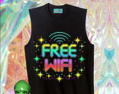 UNISEX Free WiFi Signal Rainbow 8-Bit Pixelated Muscle Tee // BLACK // fASHLIN