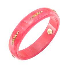 "Mark Davis ""Jane"" Gem-Set Bright Pink Bakelite Bangle"