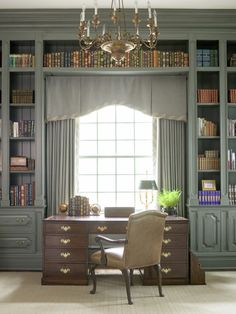 """""""Tailored and Dependable...The Box Pleat -- Here's a nice shaped version, so fitted and tailored."""" -- This is supposed to be all about the window treatment, but I'm loving the library!"""