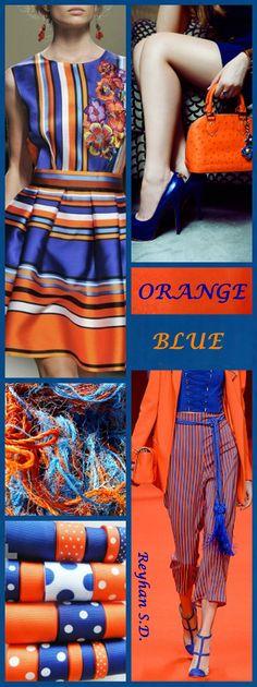 '' Orange & Blue '' by Reyhan S.D. Blue Color Schemes, Color Combinations, Fashion Colours, Colorful Fashion, Orange Palette, Color Collage, Color Me Beautiful, Himmelblau, Orange Fashion