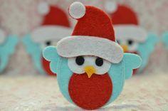 Set of 4pcs handmade felt Christmas owls--blue (FT1005)